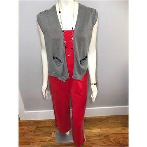 Simply Vera Grey Knit Vest with Beaded Pockets